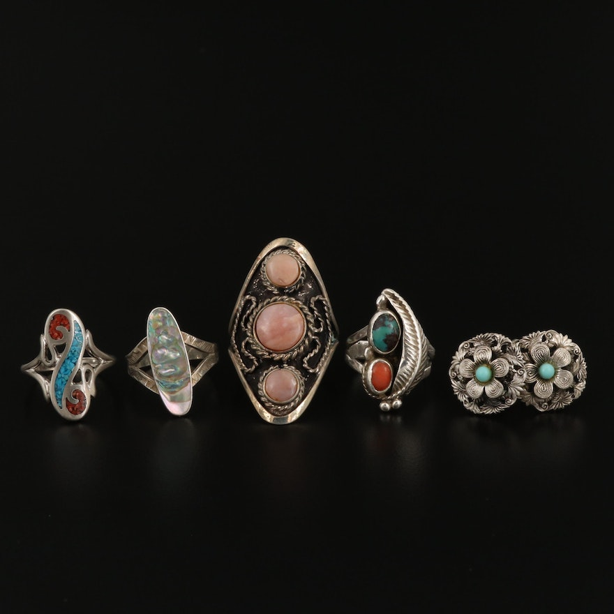 Assorted Western Style Rings and Earrings Featuring Turquoise and Abalone