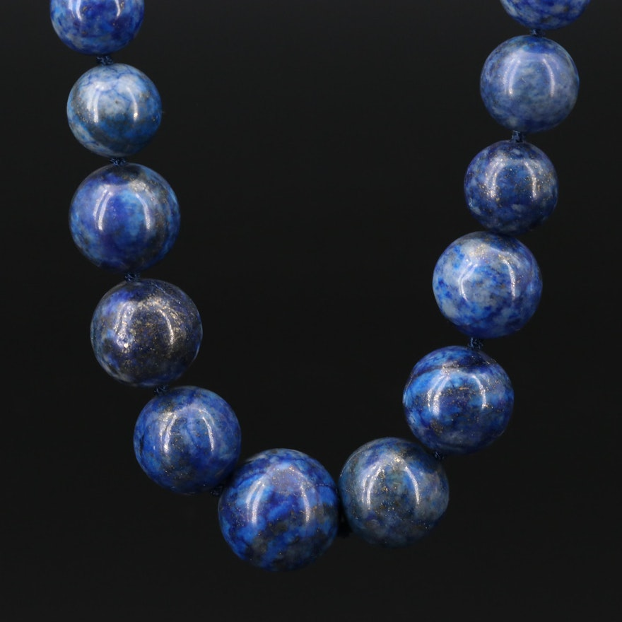 Graduated Lapis Lazuli Bead Necklace With Sterling Silver Clasp
