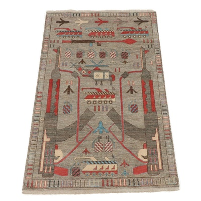4'0 x 6'6 Hand-Knotted Afghani Pictorial War Rug