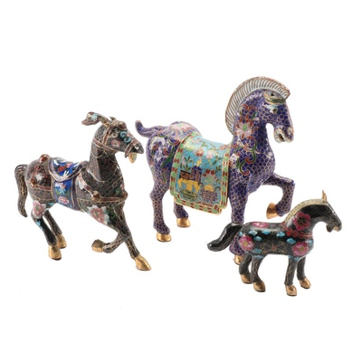Chinese Cloisonné Enamel Horse Figurines, Mid to Late 20th Century