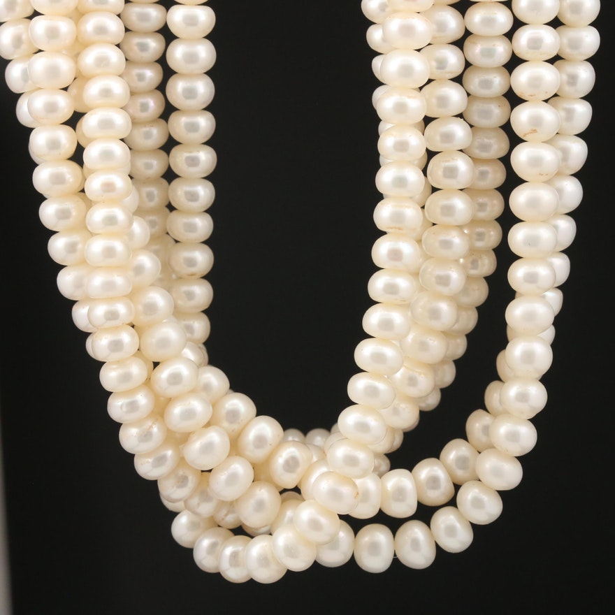 Pearl Torsade Necklace with 14K Ribbed Barrel Clasp