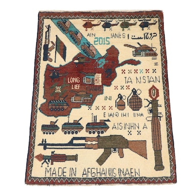 2'0 x 2'7 Hand-Knotted Afghani War Pictorial Rug, 2010s