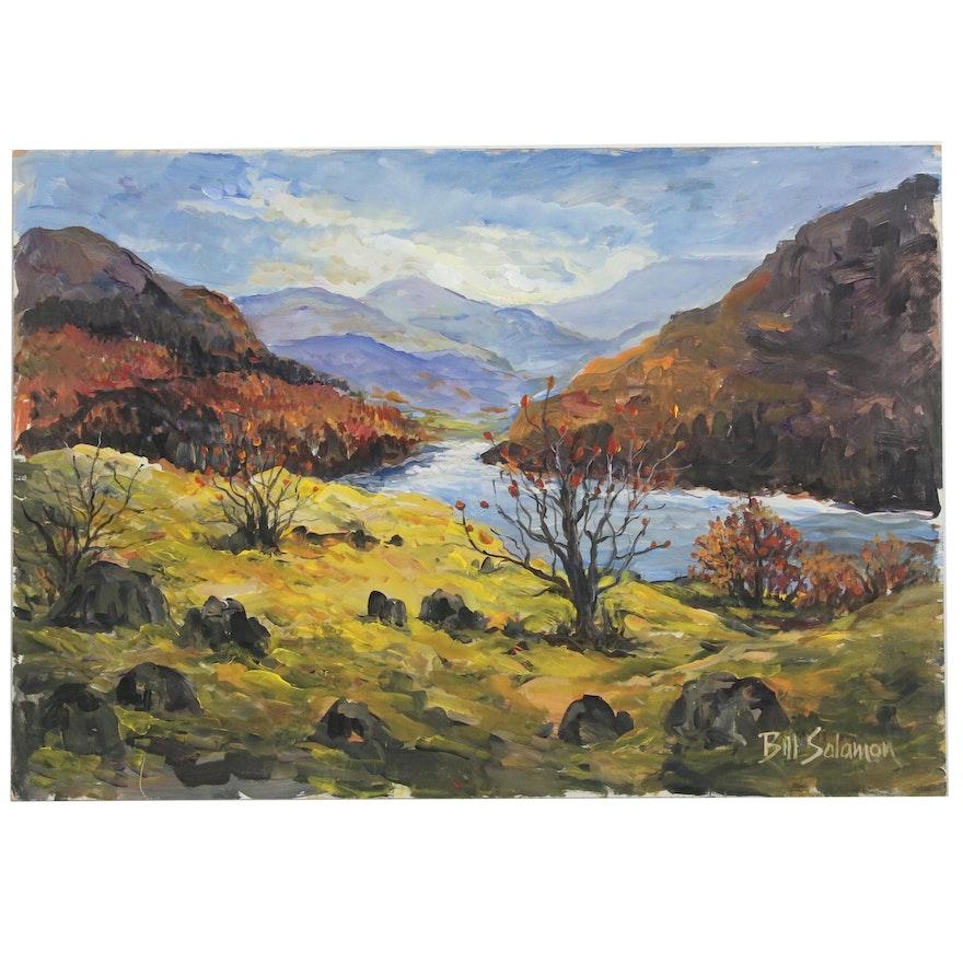 Bill Salamon Riverside Oil Painting, Late 20th Century