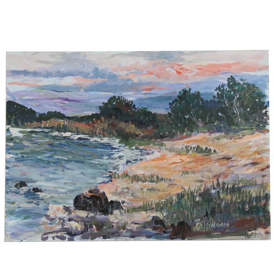 Bill Salamon Shoreside Landscape Oil Painting