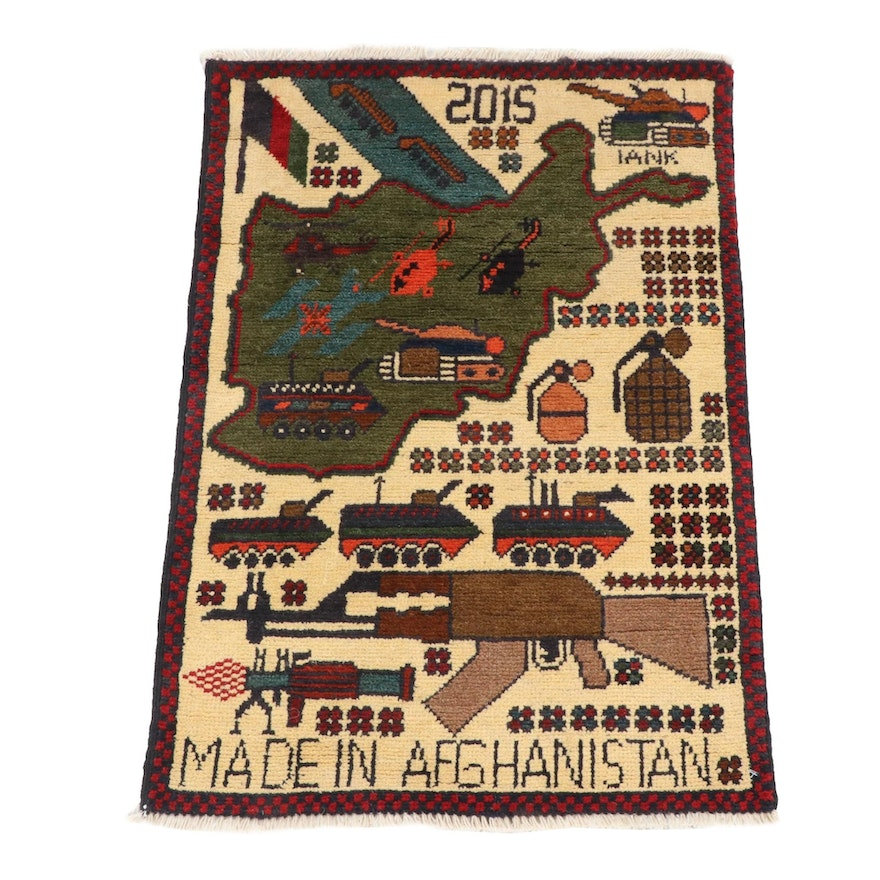 1'10 x 2'7 Hand-Knotted Afghani War Pictorial Rug