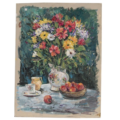 Bill Salamon Still Life Oil Painting, Late 20th Century