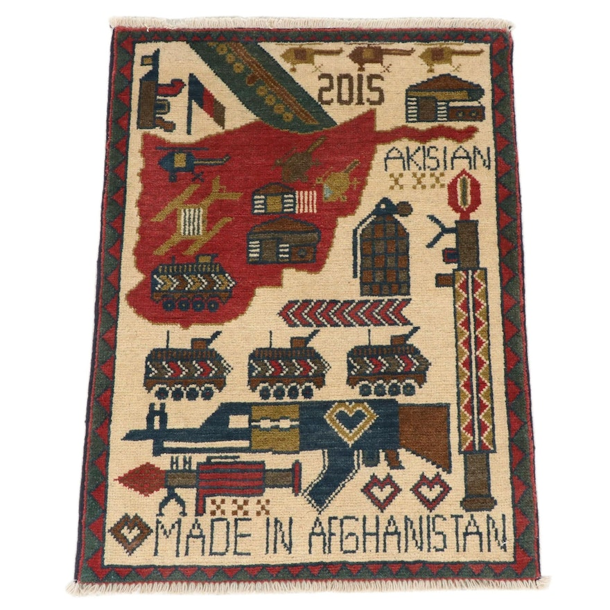 1'11 x 2'8 Hand-Knotted Afghani War Pictorial Rug, 2010s