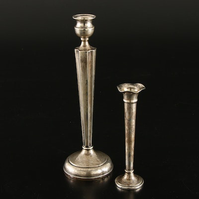 Baldwin & Miller Sterling Silver Candlestick and Other Sterling Bud Vase