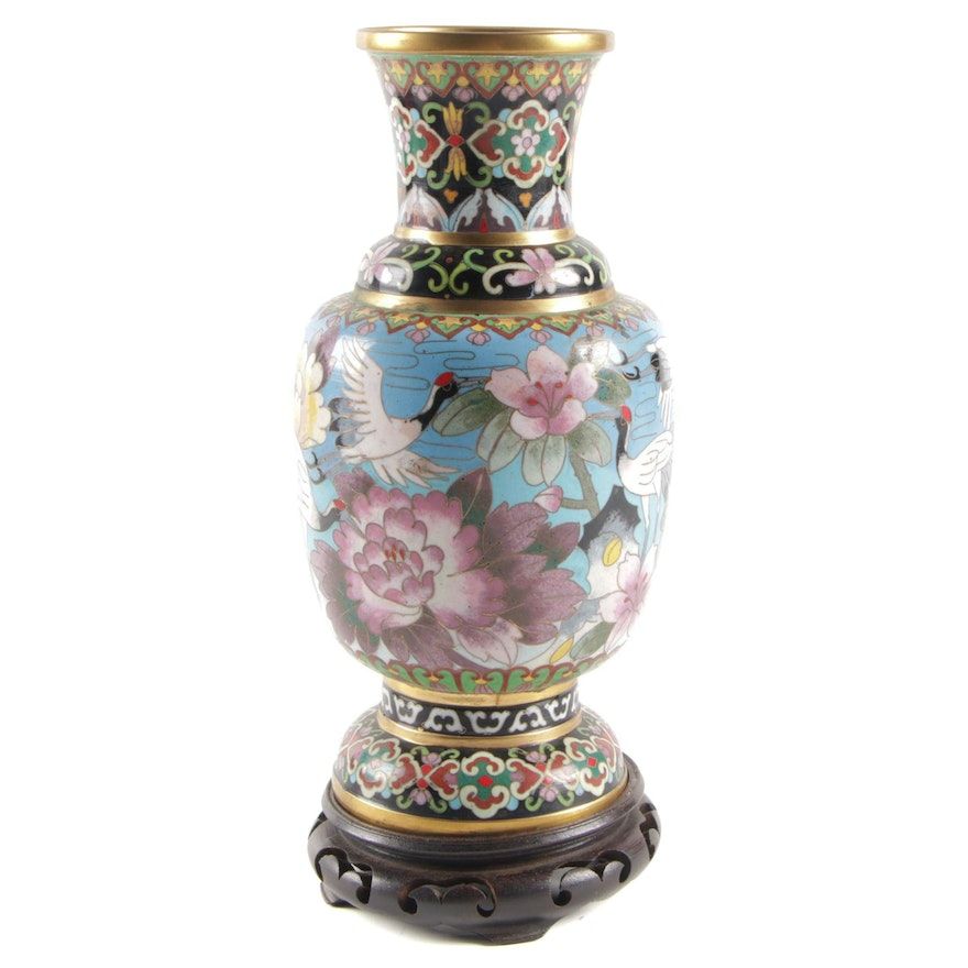 East Asian Cloisonné Vase with Peony and Crane Motif on Wood Base