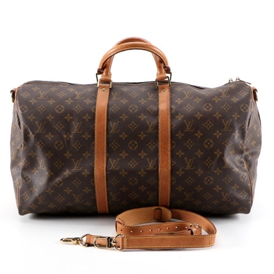 Louis Vuitton Keepall Bandouliere 50 Travel Bag in Monogram Canvas and Leather
