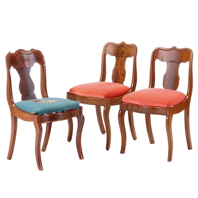 Three American Classical Mahogany Side Chairs, Second Quarter 19th Century