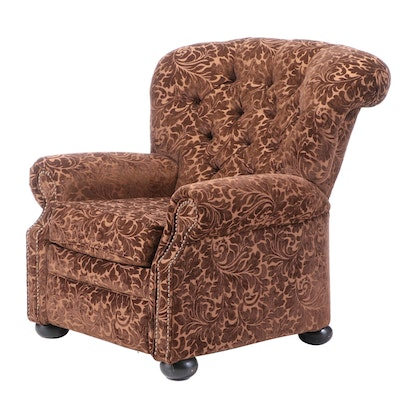 Jackson Furniture Industries Brown Damask and Button-Tufted Reclining Armchair