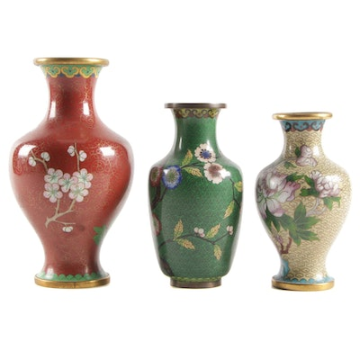 Chinese Cloisonné Enamel Vases in Floral Blossom Motifs