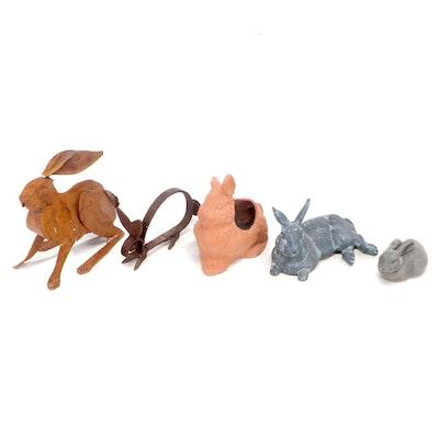 Metal, Concrete and Terracotta Figural Bunny Garden Décor and Planter