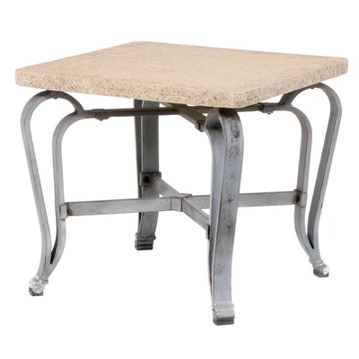 Contemporary Patinated Metal and Granite Top Patio Side Table