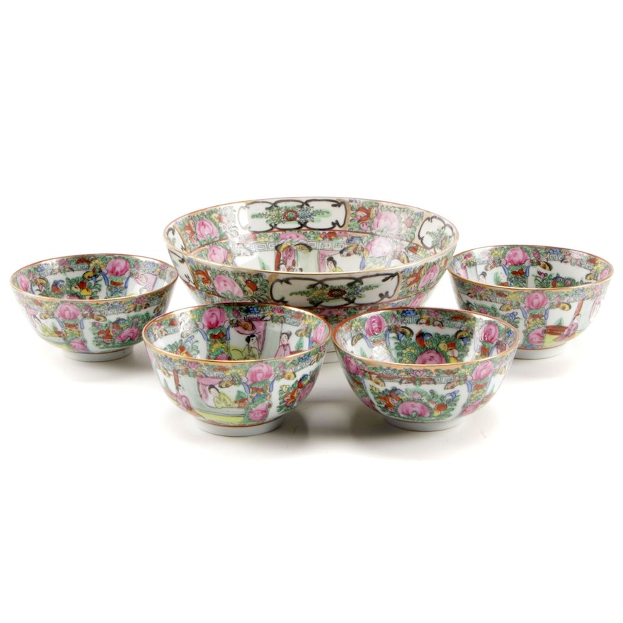 Chinese Hand-Painted Porcelain Rose Medallion Bowls
