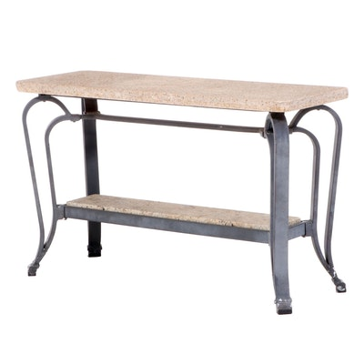 Contemporary Patinated Metal and Granite Top Patio Console Table