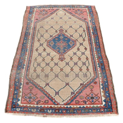 3'11 x 6'1 Hand-Knotted Persian Hamadan Wool Rug