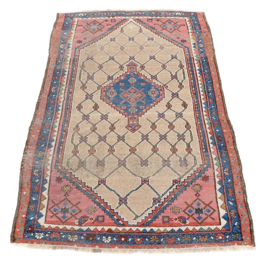 3'11 x 6'1 Hand-Knotted Persian Hamadan Wool Rug