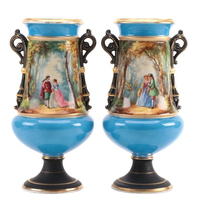 HA & Co. Hand-Painted Porcelain Courting Scene Vases