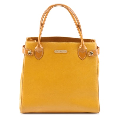 Burberrys Saffiano Leather Top Handle Bag in Yellow Ochre