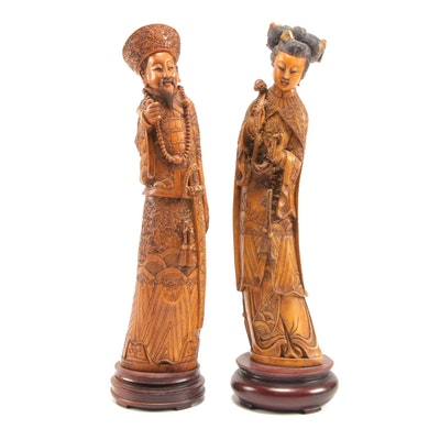 Pair of Chinese Faux Ivory Emperor and Empress Figurines