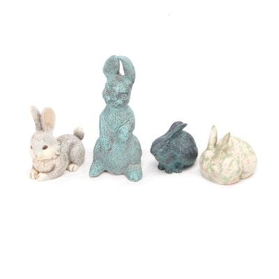 Cast Metal, Resin and Terracotta Figural Bunny Garden Décor