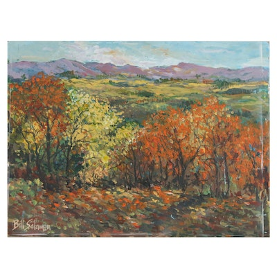 Bill Salamon Autumnal Landscape Oil Painting, Late 20th Century