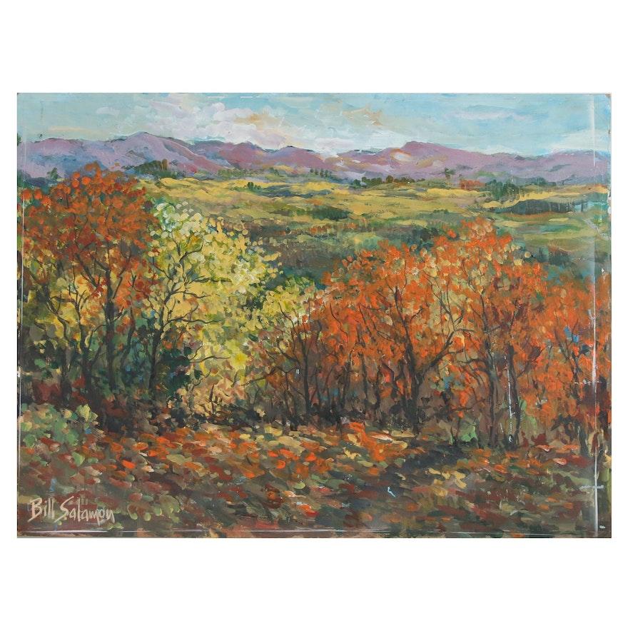 Bill Salamon Autumnal Landscape Oil Painting, Late 20th Century