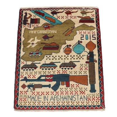 2'0 x 2'6 Hand-Knotted Afghani War Pictorial Rug