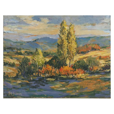 Bill Salamon Landscape Oil Painting, Late 20th Century