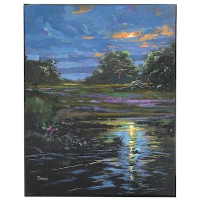 "Douglas ""Bumo"" Johnpeer Oil Painting ""Storm Break"", 2016"
