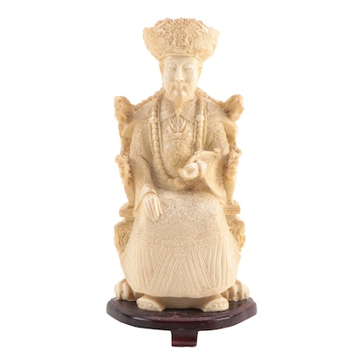 Chinese Cast Ivory Resin Emperor Figurine