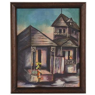 Haitian Style Street Scene Acrylic Painting, 1970