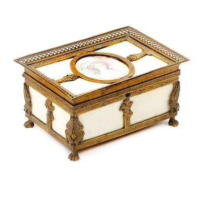 Victorian Footed Brass Jewelry Box with Hand-Painted Portrait, Late 19th Century