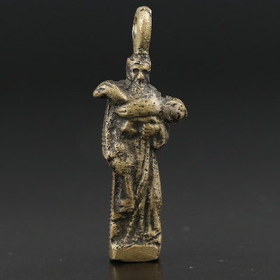 St. Peter Pendant Featuring Key and Lamb Design
