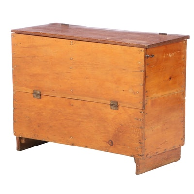 American Primitive Pine Lift-Lid and Fall-Front Chest, 19th Century and Adapted