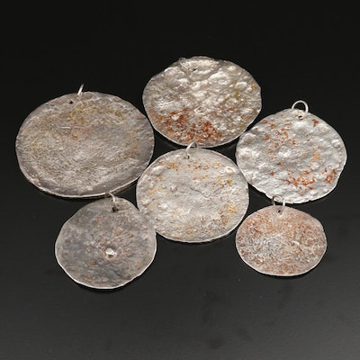 Sterling Silver and 900 Silver Sand Cast Disc Pendant