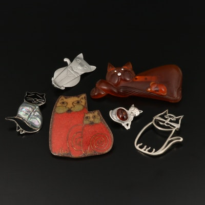 Assorted Cat Brooches Including Belinda Woody Navajo Diné