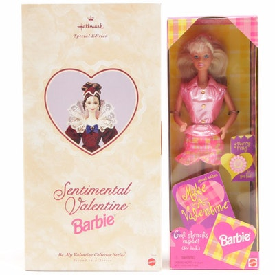 "Valentine Barbies Including ""Sentimental"" and ""Make a Valentine"" In Boxes"