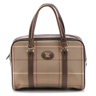Burberrys Plaid and Brown Saffiano Leather Zip Top Handbag