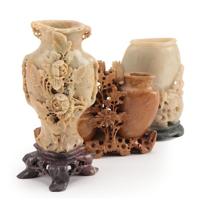 Chinese Hand Carved Soapstone Brush Pots, 20th Century