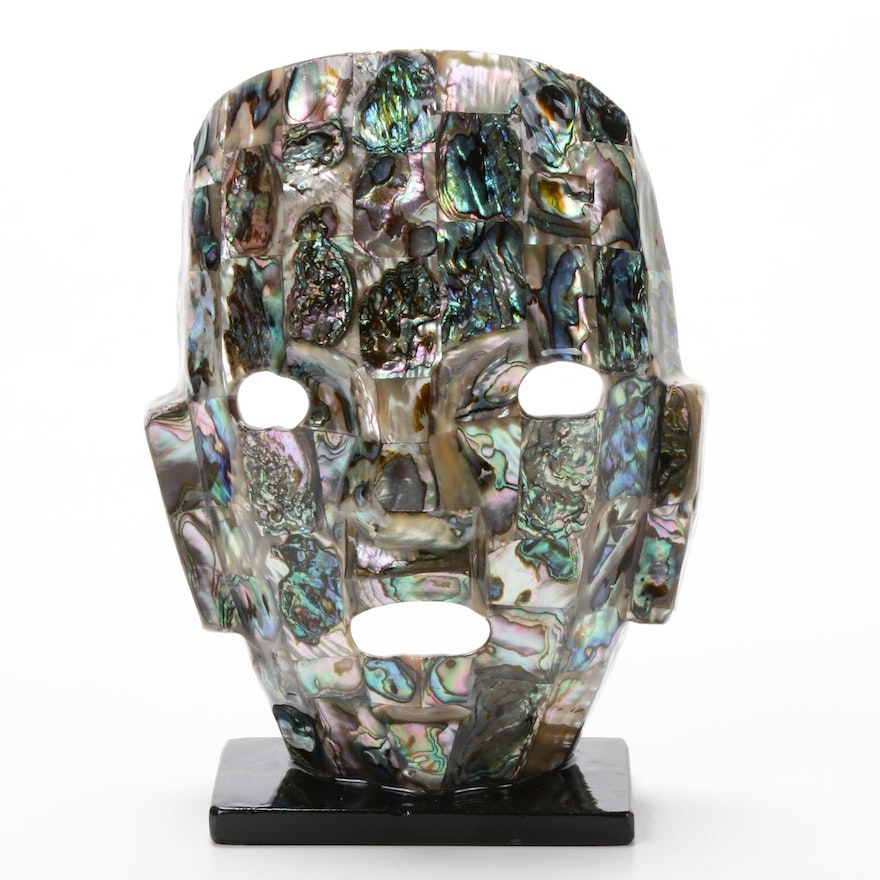 Mayan Style Abalone Face Sculpture, 20th Century