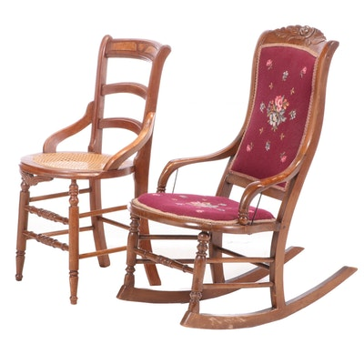 Victorian Walnut and Needlework Rocking Chair Plus Side Chair, Late 19th Century