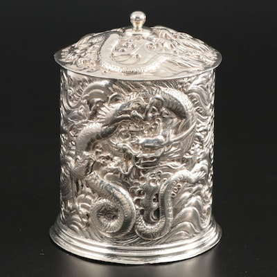 Silver Plate Tea Caddy or Humidor with Dragons in Relief