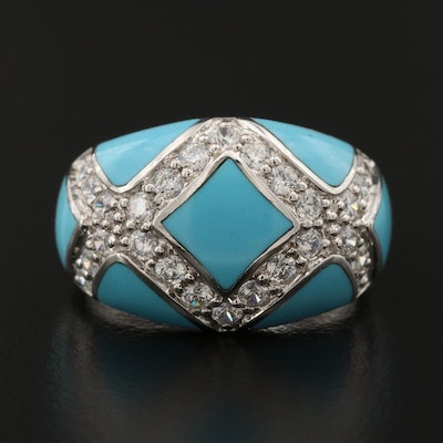 Sterling Silver Cubic Zirconia and Enamel Ring