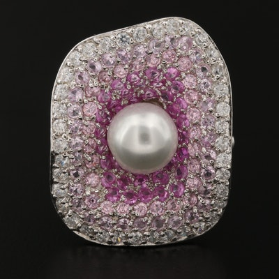 Sterling Silver Faux Pearl and Cubic Zirconia Pavé Brooch