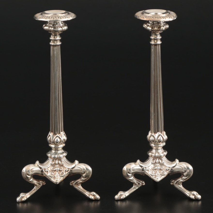 Pair of Henry Wilkinson & Co. Sterling Silver Tripod Candlesticks, 1892