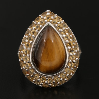 Sterling Silver Tiger's Eye Ring with Double Row Citrine Halo