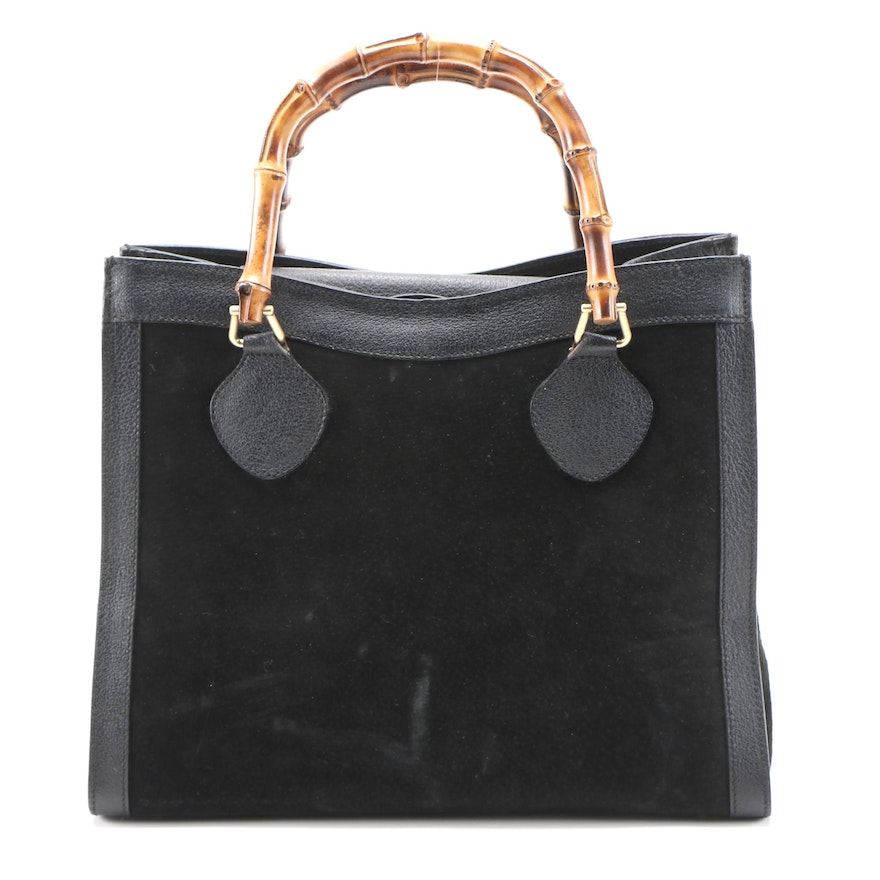 Gucci Diana Bamboo Black Suede and Textured Leather Tote